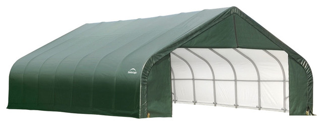 Shelter Logic Outdoor Sheltercoat Garage 28&x27;x20&x27;x20&x27;, Peak Standard, Green.