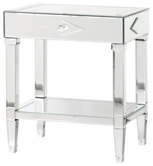 landis hollywood regency mirrored 1 drawer diamond nightstand