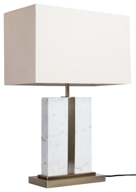 Carrara Marble Table Lamp, White, Modern, White Marble