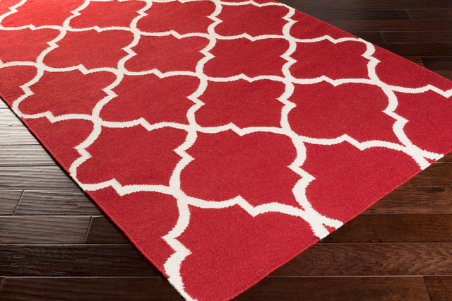 Contemporary Red White Modern Trellis Waves Rug 9 X12
