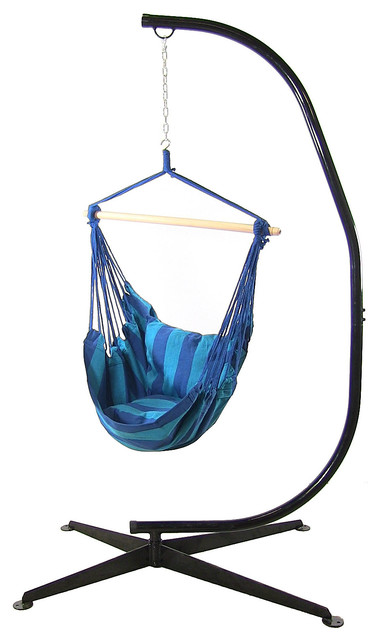 Superior Sunnydaze Hanging Hammock Swing With 2 Cushions And C Stand Combo, Oasis  Contemporary