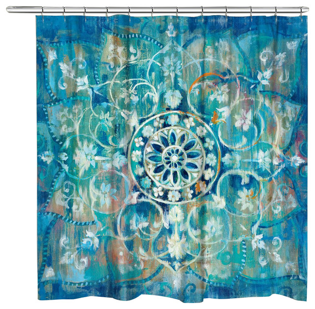 Laural Home Blue Mandala Shower Curtain