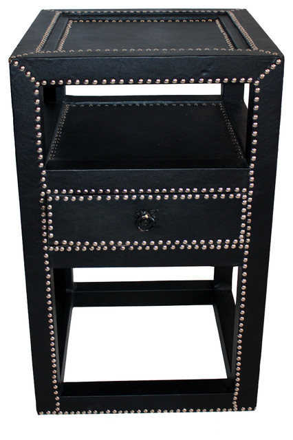 Square Leather Side Table With Silver Metal Buttons, Black  Contemporary Side Tables