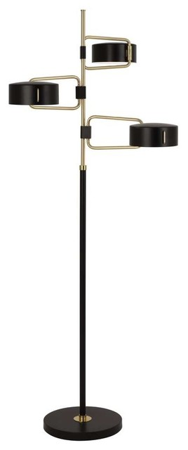 Robert Abbey Simon 3-Light Floor Lamp, Modern Brass.