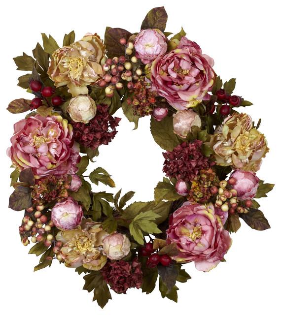 """24"""" Peony Hydrangea Wreath."""