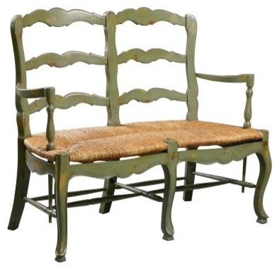 Superbe Country French Ladderback Settee Bench