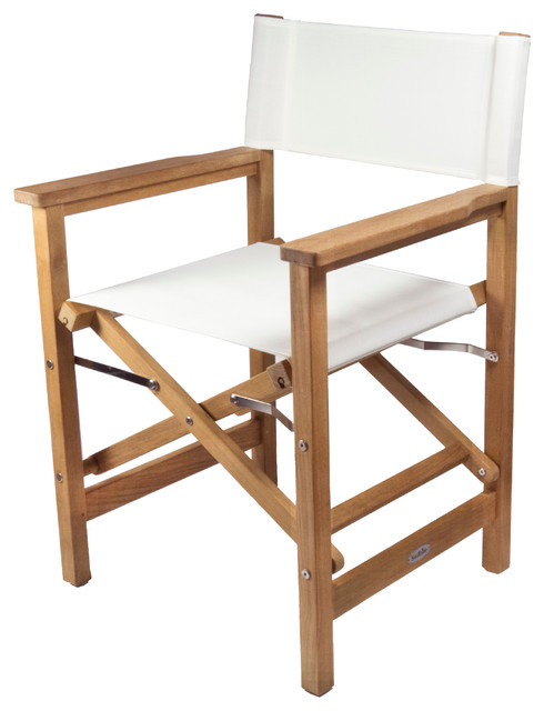 Gentil Teak Directoru0027s Chair, White