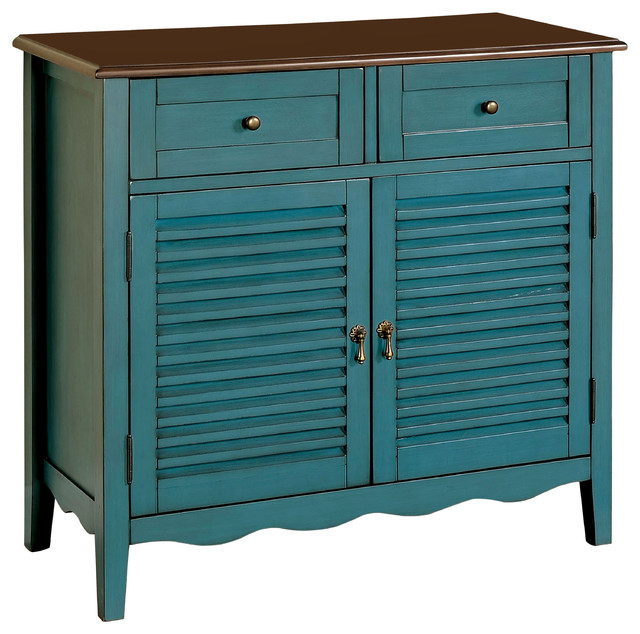 oleida country louver console table storage cabinet 2 drawers shelves blue