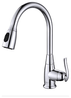 single lever pull out kitchen faucet modern kitchen taps by kraus usa inc. Black Bedroom Furniture Sets. Home Design Ideas