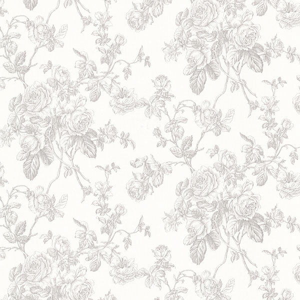 gray floral wallpaper  Annie Gray Floral Wallpaper - Traditional - Wallpaper - by Brewster ...