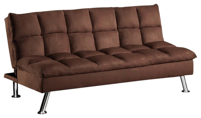 Charmant Adele Microfiber Pillow Top Chocolate Futon Sofa Bed With Chrome Legs