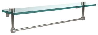 """22"""" Glass Shelf With Towel Bar, Satin Nickel"""