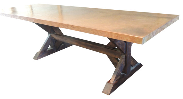 Copper Farm Trestle Table, Rustic Sand Rustic Dining Tables