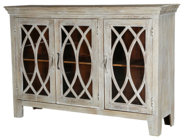 French Provincial Winter White Mango Wood Sideboard Cabinet