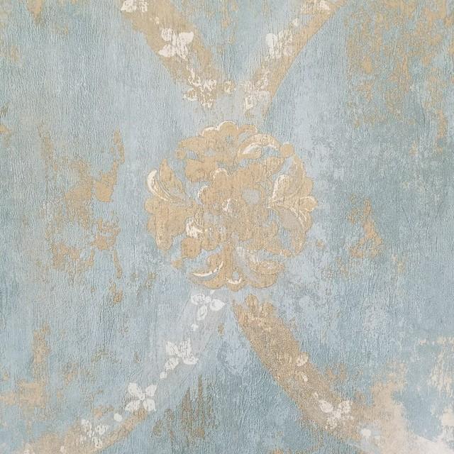 Aqua Blue Gold Weathered Vintage Damask Wallpaper, Sample.