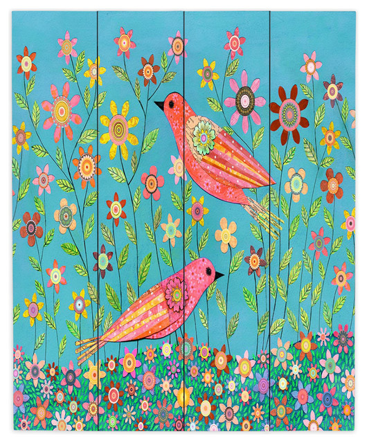 DiaNoche Wood Plank Wall Art By Sascalia   Bohemian Birds Contemporary Kids  Wall  Part 37
