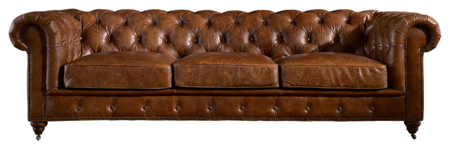 Leather Chesterfield Sofa, Light Brown