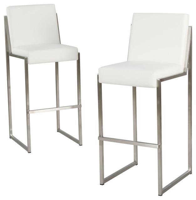 Gdf Studio Velica White Leather Bar Stools Set Of 2