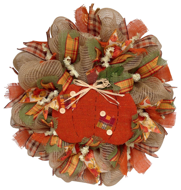 Country Pumpkin Button Autumn Deco Mesh Handmade Wreath.