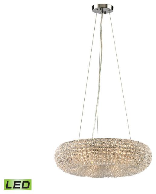 Led Swirl Six Ring Chandelier Pendant Light Contemporary: ELK Lighting Crystal Ring 6 Light Chandelier In Polished