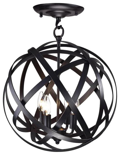 Clymene 4-Light Globe Semi-Flush Pendant.
