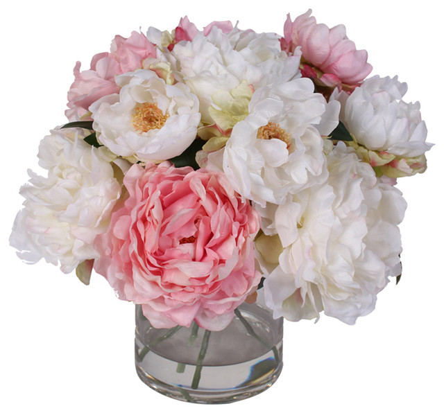 217 & Silk French Peonies Bouquet in Glass Vase With Fake Water