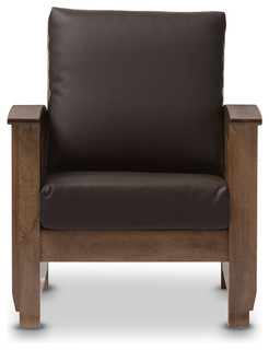 Charlotte Mission Style Brown Faux Leather Lounge Chair