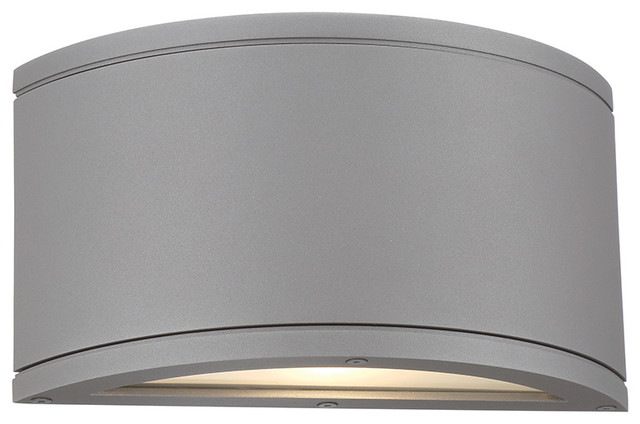 Tube LED Indoor Or Outdoor Half Cylinder Up And Down Wall Light Graphite Contemporary