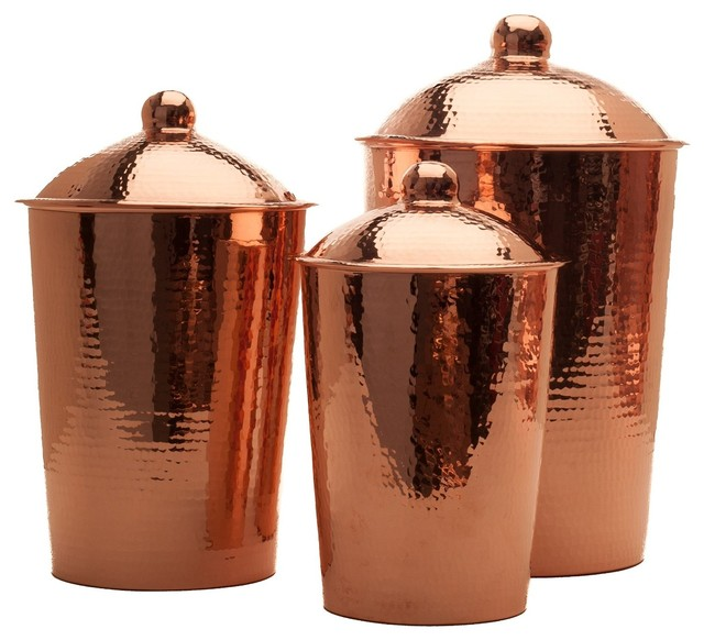 Sertodo Kumran Hammered Copper Kitchen Canister Contemporary Kitchen Canisters And Jars By