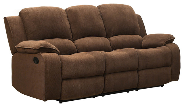 Merveilleux Homelegance Barone Double Reclining Sofa In Dark Brown Polyester