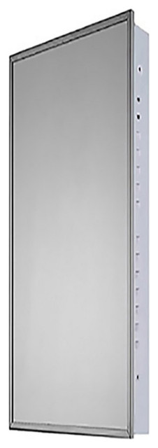 """18""""W x 52""""H Euroline Series Flush Mounted Bright Annealed Stainless Steel Framed"""