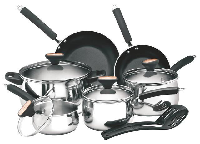 Paula Deen Signature Stainless Steel 12-Piece Cookware Set.