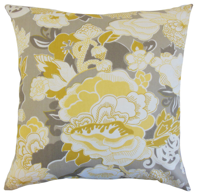Houzz Spring Landscaping Trends Study: Dariela Floral Bedding Sham Yellow, Euro