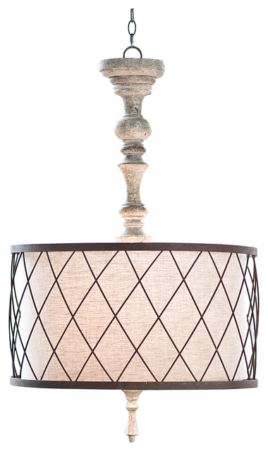 Flaubert French Country Gesso Spindle Pendant - Pendant Lighting  sc 1 st  Houzz & French Country Pendant Lights | Houzz azcodes.com
