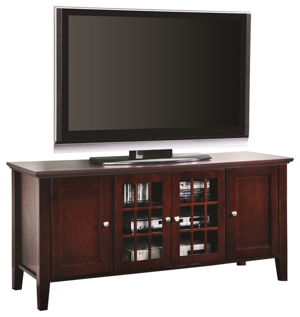 2K Furniture Designs Window Panes TV Stand, Dark Cherry - Entertainment Centers And Tv Stands ...