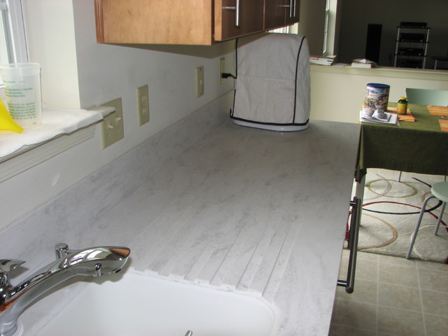 Paint designed concrete existing over tile countertops ended getting
