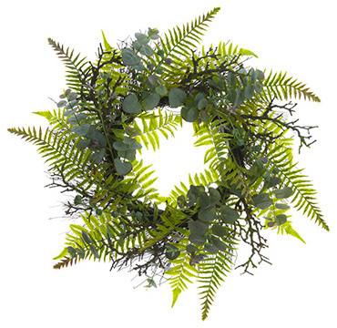 Silk Plants Direct Plastic  Eucalyptus, Fern And Twig Wreath, Set Of 1.
