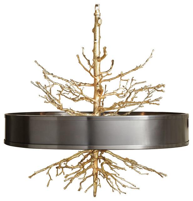 Bijou Tree Branch Hollywood Regency Br Bronze Ceiling Pendant Lamp