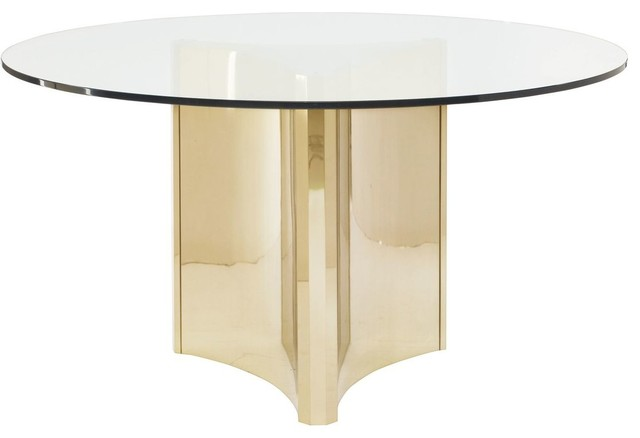 Bernhardt Abbot Round Metal Dining Table With Glass Top
