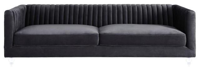 Aviator Velvet Sofa, Gray
