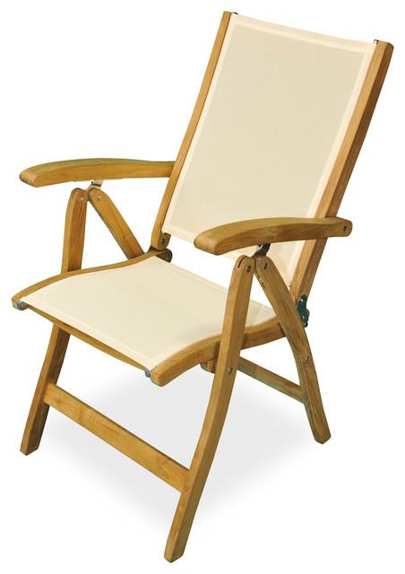 Delicieux Teak Recliner Chair With Batyline Fabric Cream