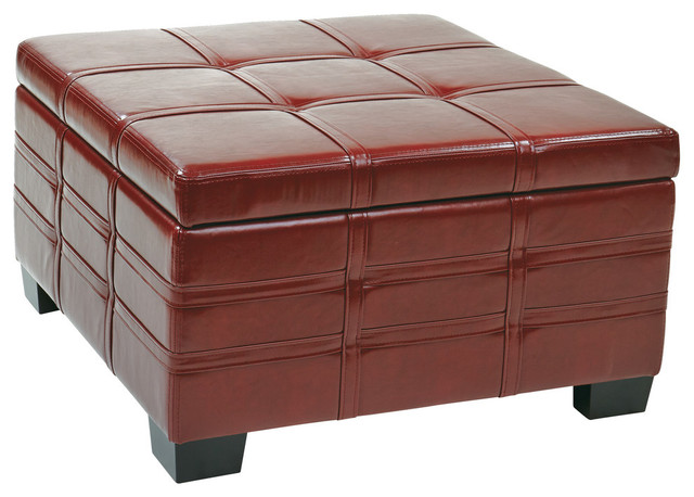 Detour Strap Ottoman With Tray In Crimson Red Bonded Leather.