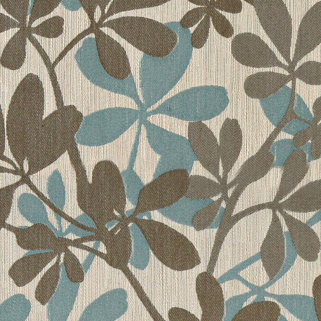 Teal Taupe And Beige Contemporary Leaves Woven Upholstery Fabric By The Yard