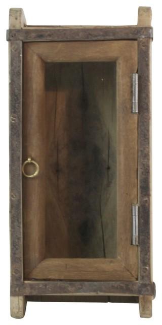 Vintage Wood Brick Mold Shadow Box Cabinet Wall Shelf Door Hanging Rustic