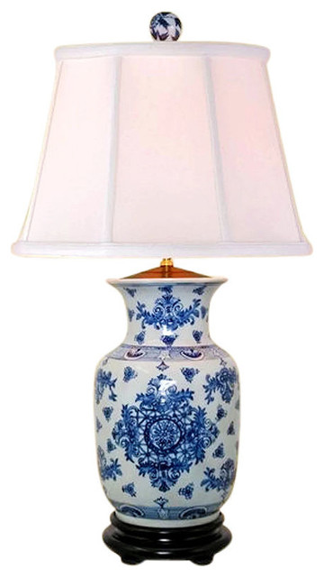 """Chinese Blue and White Porcelain Vase Round Insignia Table Lamp 30"""""""