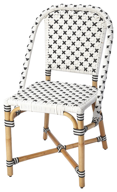 Butler Tenor White Black Rattan Dining Chair Tropical Dining Chairs By Furniture East Inc