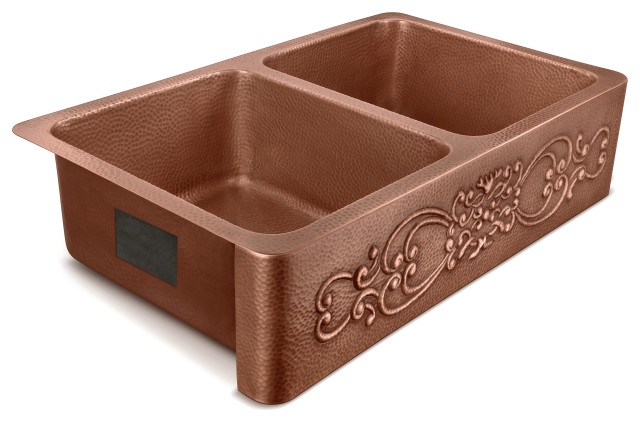 "Renzan Farmhouse Apron-Front Handmade 36"" Double Bowl Sink, Antique Copper"