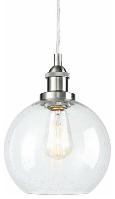 Globe Seeded Gl Pendant Brushed Nickel Lighting By Lightingworld