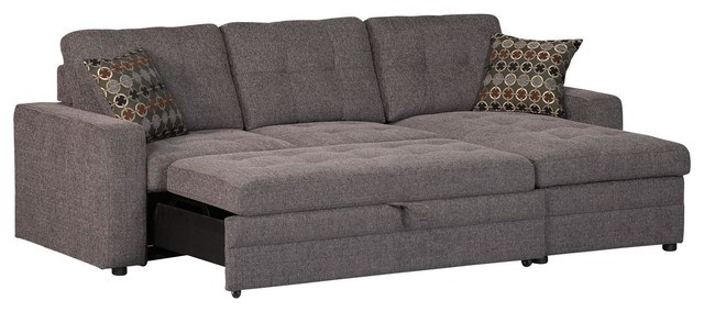 Casual Dark Gery Gus Sectional Sofa With Tufts Storage Pull Out Bed Pillows