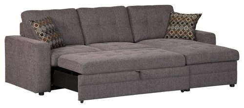 Casual Dark Gery Gus Sectional Sofa w/ Tufts Storage Pull Out Bed Pillows
